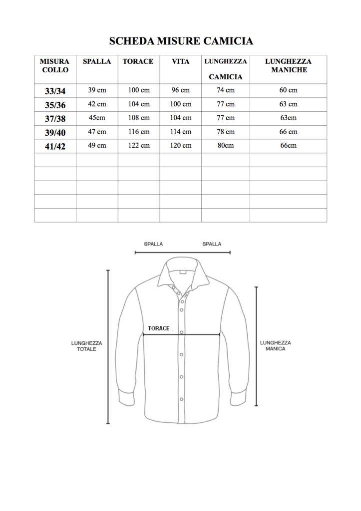 Tabella misure camicie